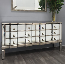 Venetian Mirrored Chest Drawers Antique Silver Sideboard Large Vintage Cabinet