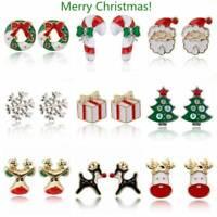 Weihnachten Serie Ohrstecker Cartoon Bell Santa Tree Ohrring Neujahr tBUKA