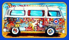 "3.25"" Cool, VW Bus ""Rock n' Roll Surfer"" STICKER. Volkswagen for guitar or bong."