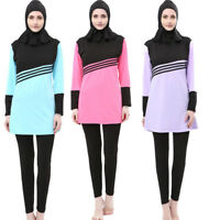 Muslim Lady Modesty Swimwear Swimsuit Full Cover Islamic Beachwear Arab Burkini