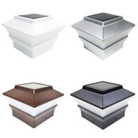 18 Black / Brown / Silver / White 4x4 Solar Post Deck Cap Fence Light PVC Vinyl