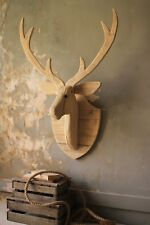 Wood Deer Head Mount Wall Hanging Rustic Cabin Lodge Decor Large 39 Inches