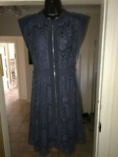 REBECCA TAYLOR DARK BLUE LACE DRESS WITH CAMI SLIP SIZE UK 10