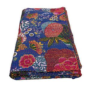 Boho Blue Floral Blanket Indian Quilts Cotton Handmade Kantha Gudri Reversible