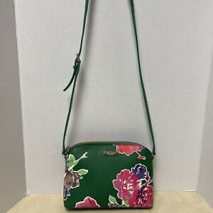 Kate Spade Crossbody Shoulder Bag Green with pink purple Brown/tan florals