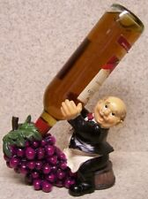 French chef kitchen Wine Butler and Grapes Tabletop Bottle Holder figurine