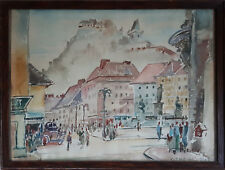 "Watercolour by Franz Trenk ""Hauptplatz Graz"""
