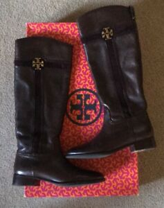 Tory Burch Alaina 30mm Coconut Brown Tumbled Leather Split Suede Riding Boots 9