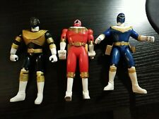 LOT 3 MIGHTY MORPHIN POWER RANGERS ZEO Figures, Bandai 1996 5.5 BLUE BLACK RED