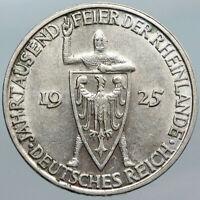 1925 D GERMANY Rhineland 1000th YR Antique OLD Silver VINTAGE 3 Mark Coin i88063