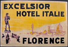 Poster Style Luggage Label Excelsior Hotel Italy Florence Sculptures Nude Men