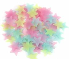 100 PIECES OF GLOW IN THE DARK RAINBOW COLORED STARS