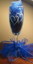 Double Hearts Wedding Champagne Set Toasting Flutes Glasses Personalized