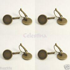 6 x Earring Cabochon Settings Bronze Brass Lever Back Hoop Earrings-LF NF- TS319