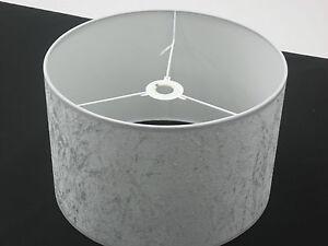 "Hand Made 10"" Silver-Grey Velvet Lampshade"