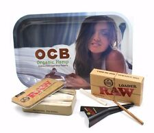 RAW ROLLING PAPER  CONE TRAY BUNDLE  1 1/4  W RAW CONE LOADER AND OCB TRAY