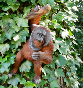 Orangutan Wall Decoration Garden Ornament Monkey Outdoor Statue Hanging Figure