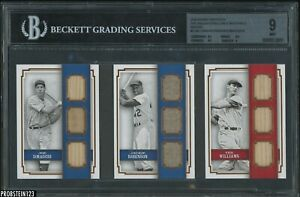 2016 Panini DiMaggio Jackie Robinson Ted Williams Jersey Bat Booklet 1/5 BGS 9