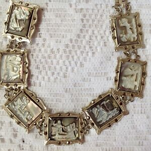 """Vintage Art Deco Carved Shell Cameo & Marcasite """"7 Day"""" 800 Silver Bracelet"""
