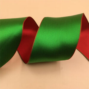 63mm X 10yards Green Red Reversible Christmas Wired Satin Ribbon