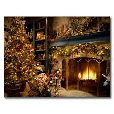 "+PC-Postcard-""Merry Christmas""-""Fireplace & Pretty Christmas Tree"" (B-193)"