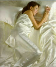 SINGLE BED SATIN 4 PC DUVET COVER FITTED SHEET FOUR PILLOWCASES CREAM / IVORY