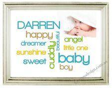 PERSONALISED Baby Photo PRINT Art Wall Prints BOY & GIRL gift first year nursery