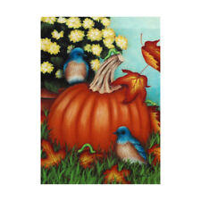 "Fall Pumpkin Bluebirds 12.5"" X 18"" Garden Flag 11-1671-133 Rain Or Shine Season"