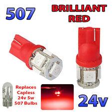 2 X Rojo 24v Sin Tapa Lado Luz 507 501 W5w 5 Smd T10 Cuña bombillas de vehículos pesados, Camiones