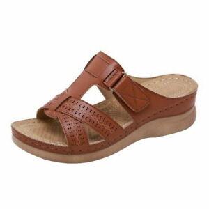 Womens Orthopedic Slip On Sandals Flip Flop Open Toe Wedge Slippers Summer Shoes