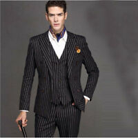 Pinstripe Men Suit Black Wedding Suits Striped Blazer Male Formal Business Suits