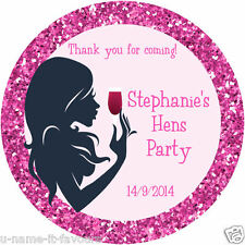 Personalised Hens Party Night Day Gloss Round Sticker Labels - 65mm -12 Per Page