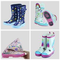 Kids Rain Boots Toddler Cute Printed Little Big Girls Boys Rubbler Water Shoes