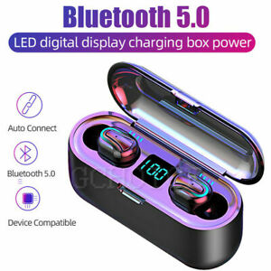 Mini Auriculares Bluetooth 5.0 TWS Inalámbrico LED Impermeable + Caja Carga Q32