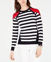Tommy Hilfiger Women's Sweater Blue Size Large L Striped Button-Detail $69- #268