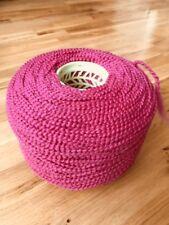 Large 1000 Gram ConeOf Chunky 95%Wool. Boucle/gimp Yarn In A Fuchsia Pink Shade.