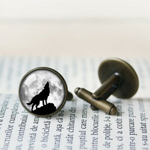 Howling Wolf Cufflinks, Bronze Silver Glass Picture Cuff Links Gift Tie Clip