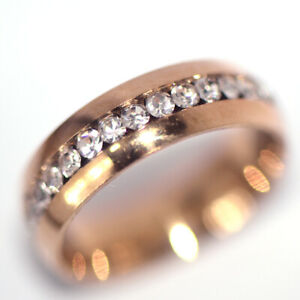 Rose Gold Filled Full Crystal Ring Womens Jewelry Rings Party Fashion Size 7