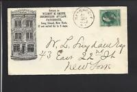 PATCHOGUE, NEW YORK, 1883 BANKNOTE COVER,ILLUST BUILDING ADVT. LAW OFFICES/BANK