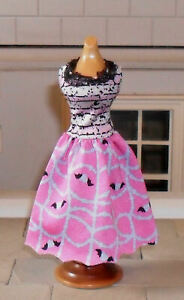 1/12TH SCALE DOLLS' PATTERNED PINK DRESS