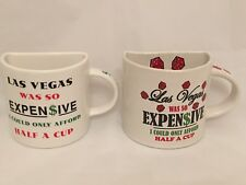 Las Vegas Dice Dollars Half a Cup 2 Coffee Mugs Set Lot Ceramic 10-12 oz EUC