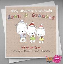 Personalised Christmas Card Gran and Grandad Nana & Grandpa ,Kids Vintage Cute