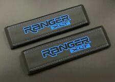 Ford Ranger XLT black seat belt shoulder pads covers Blue embroidery 2PCS
