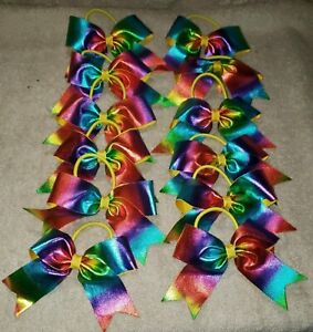 Lot of 12 Sparkly Baby Girls Hair Bows Hairbow Pony-O Ponytail Holder RAINBOW