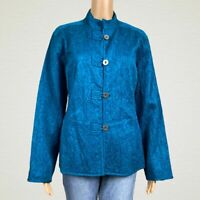 Chico's Textured Print Loop Button Shirt Jacket 2 LARGE 12 14 Teal Blue Green