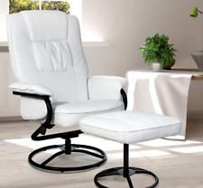 PU Leather Reclining Arm Chair & Footrest - White