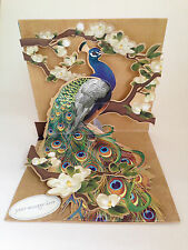 Lujo Pavo Real 3D pop-up Greeting Card, personalizados para todas las ocasiones