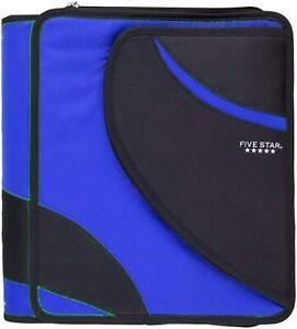 "Five Star Zipper Binder 1.5"" Dual Ring 3 Pocket Expanding School 800 Sheet Blue"