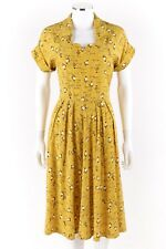 Vtg COUTURE c.1940's Yellow & Black Lantern Print Pleated Afternoon Day Dress