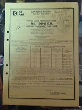 1969 Canadian Pacific Railway Company Special Local Passenger Tariff NO.198-8 ER